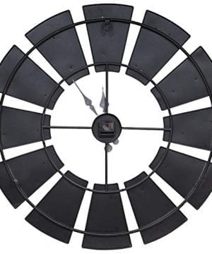 Everly Hart Collection Oversized Metal And Wood Windmill Wall Clocks Silver 0 2 300x360