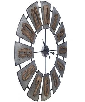 Everly Hart Collection Oversized Metal And Wood Windmill Wall Clocks Silver 0 3 300x360