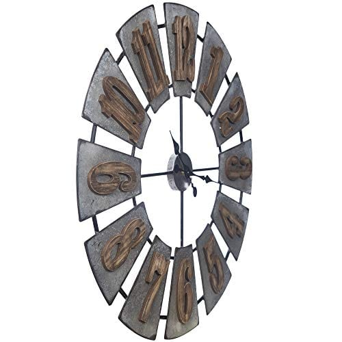 Everly Hart Collection Oversized Metal And Wood Windmill Wall Clocks Silver 0 3