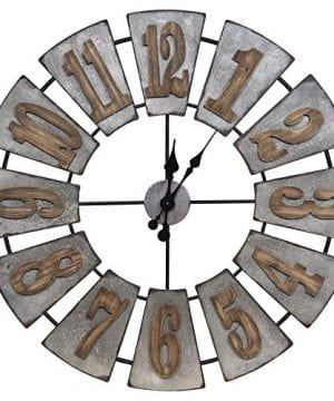 Everly Hart Collection Oversized Metal And Wood Windmill Wall Clocks Silver 0 300x360