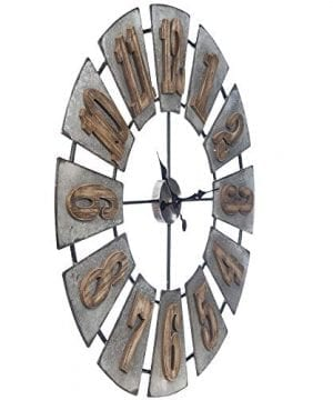 Everly Hart Collection Oversized Metal And Wood Windmill Wall Clocks Silver 0 4 300x360