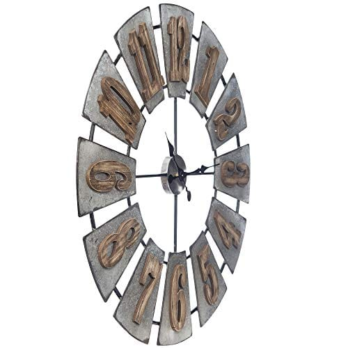 Everly Hart Collection Oversized Metal And Wood Windmill Wall Clocks Silver 0 4