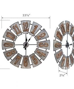 Everly Hart Collection Oversized Metal And Wood Windmill Wall Clocks Silver 0 5 300x360