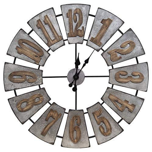 Everly Hart Collection Oversized Metal And Wood Windmill Wall Clocks Silver 0