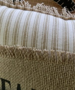 FARMHOUSE Biege Ticking Stripe 12x14 Toss Pillow With Farmhouse Stenciled In Black On Burlap Burlap Backing Comes Complete Handcrafted 0 0 300x360