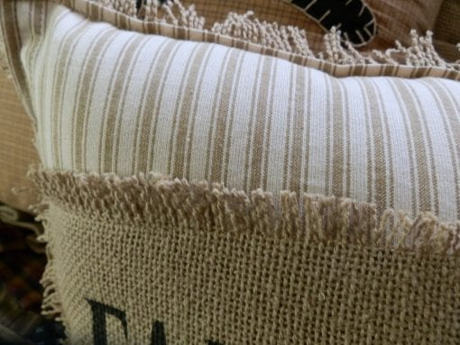 FARMHOUSE Biege Ticking Stripe 12x14 Toss Pillow With Farmhouse Stenciled In Black On Burlap Burlap Backing Comes Complete Handcrafted 0 0 510x383