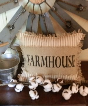 FARMHOUSE Biege Ticking Stripe 12x14 Toss Pillow With Farmhouse Stenciled In Black On Burlap Burlap Backing Comes Complete Handcrafted 0 1 300x360
