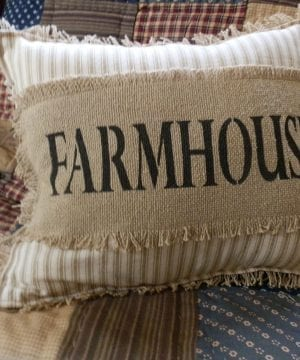 FARMHOUSE Biege Ticking Stripe 12x14 Toss Pillow With Farmhouse Stenciled In Black On Burlap Burlap Backing Comes Complete Handcrafted 0 300x360
