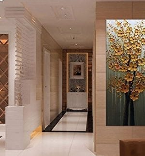 Fasdi ART Paintings 24x48 Inch PaintingsOil Painting Gold Flower 3D Hand Painted On Canvas Abstract Artwork Art Wood Inside Framed Hanging Wall Decoration Abstract Painting DF018 0 3 300x323