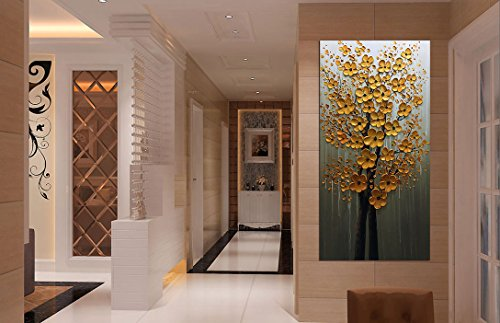 Fasdi ART Paintings 24x48 Inch PaintingsOil Painting Gold Flower 3D Hand Painted On Canvas Abstract Artwork Art Wood Inside Framed Hanging Wall Decoration Abstract Painting DF018 0 3