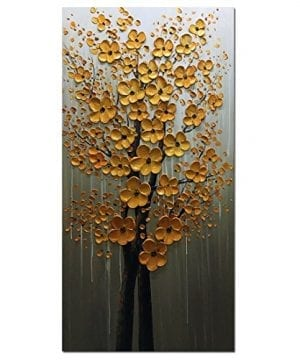 Fasdi ART Paintings 24x48 Inch PaintingsOil Painting Gold Flower 3D Hand Painted On Canvas Abstract Artwork Art Wood Inside Framed Hanging Wall Decoration Abstract Painting DF018 0 300x360