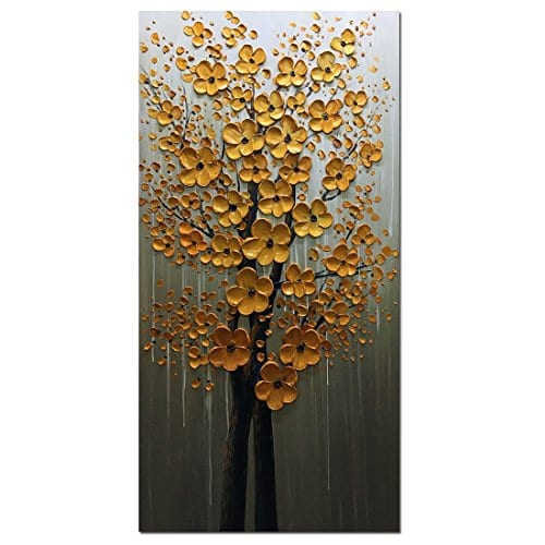 Fasdi ART Paintings 24x48 Inch PaintingsOil Painting Gold Flower 3D Hand Painted On Canvas Abstract Artwork Art Wood Inside Framed Hanging Wall Decoration Abstract Painting DF018 0