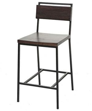 Fashion Bed Group Olympia Counter Stool With Black Matte Finished Metal Frame Footrest And Black Cherry Colored Wood 26 Inch Seat Height 0 300x360
