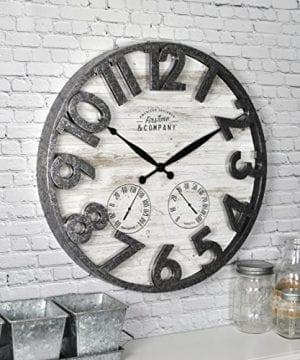 FirsTime 31038 Shiplap Outdoor Wall Clock Light Gray 0 0 300x360