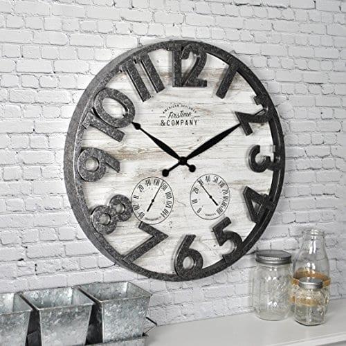 FirsTime 31038 Shiplap Outdoor Wall Clock Light Gray 0 0