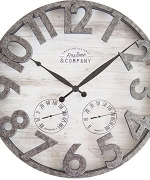 FirsTime 31038 Shiplap Outdoor Wall Clock Light Gray 0 300x360