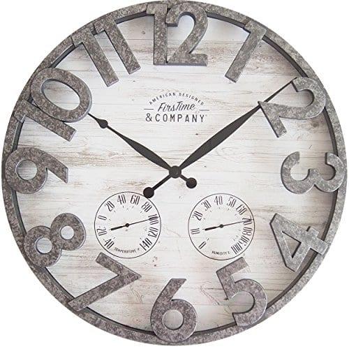 FirsTime 31038 Shiplap Outdoor Wall Clock Light Gray 0