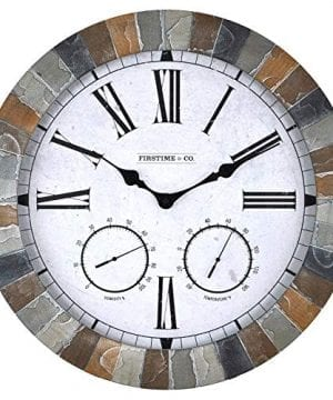 FirsTime 99670 Garden Stone Outdoor Wall Clock Faux Slate 0 300x360