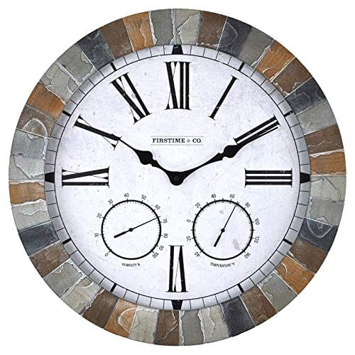 FirsTime 99670 Garden Stone Outdoor Wall Clock Faux Slate 0