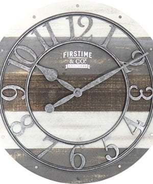 FirsTime 99687 Shabby Wood Wall Clock Gray 0 300x360