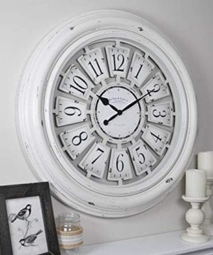 FirsTime Co 31066 Farmhouse Plaques Wall Clock 29 Antique White 0 0 300x360
