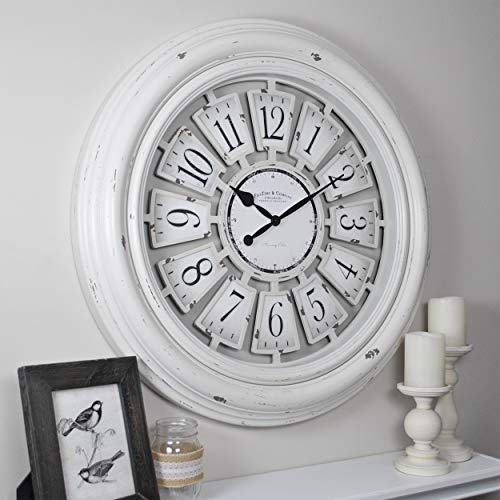 FirsTime Co 31066 Farmhouse Plaques Wall Clock 29 Antique White 0 0
