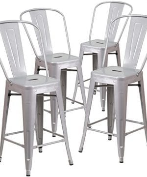Flash Furniture 4 Pk 24 High Silver Metal Indoor Outdoor Counter Height Stool With Back 0 300x360