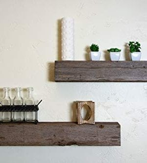 Floating Shelves Made From Reclaimed Wood Farmhouse Fixer Upper Style With Rustic Character And Countersunk Brackets 0 300x333