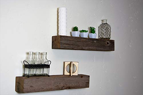 Floating Shelves Made From Reclaimed Wood Farmhouse Fixer Upper Style With Rustic Character And Countersunk Brackets 0 4