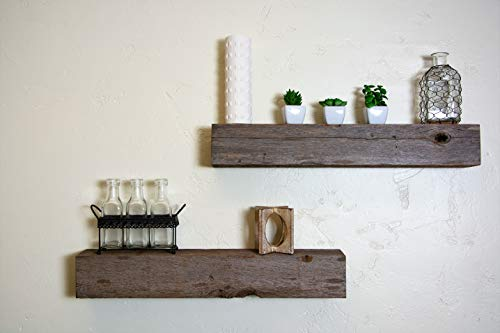 Floating Shelves Made From Reclaimed Wood Farmhouse Fixer Upper Style With Rustic Character And Countersunk Brackets 0