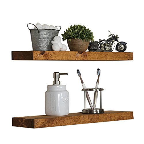 Floating Wall Shelves Set Of 2 Handmade Shelf Made Of Rustic Pine By Del Hutson Designs 2 X 24 X 55 Inch Walnut Color 0 0