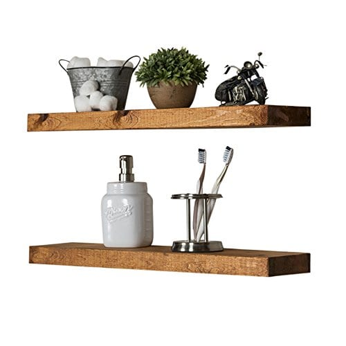 Floating Wall Shelves Set Of 2 Handmade Shelf Made Of Rustic Pine By Del Hutson Designs 2 X 24 X 55 Inch Walnut Color 0 1