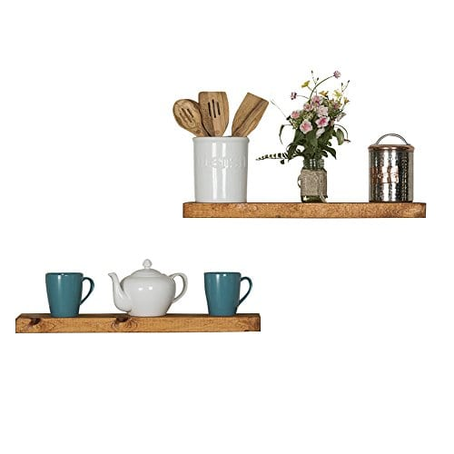 Floating Wall Shelves Set Of 2 Handmade Shelf Made Of Rustic Pine By Del Hutson Designs 2 X 24 X 55 Inch Walnut Color 0 2
