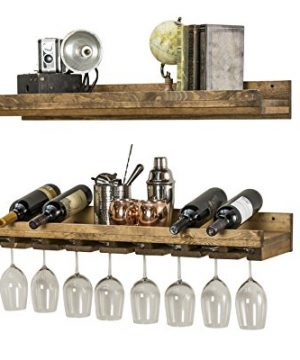 Floating Wine Shelf And Glass Rack Set Wall Mounted Rustic Pine Wood Handmade By Del Hutson Designs 3 Ft 36 Inch 0 0 300x360