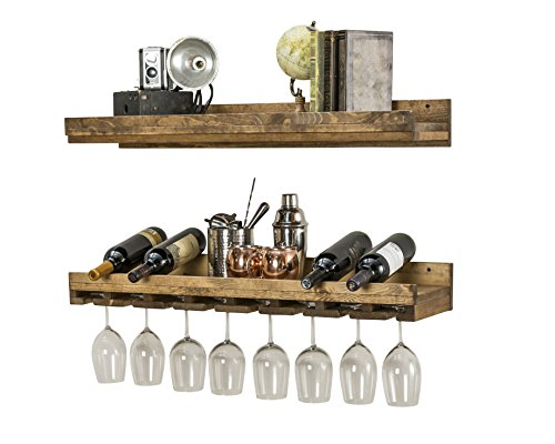 Floating Wine Shelf And Glass Rack Set Wall Mounted Rustic Pine Wood Handmade By Del Hutson Designs 3 Ft 36 Inch 0 0