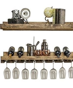 Floating Wine Shelf And Glass Rack Set Wall Mounted Rustic Pine Wood Handmade By Del Hutson Designs 3 Ft 36 Inch 0 1 300x360