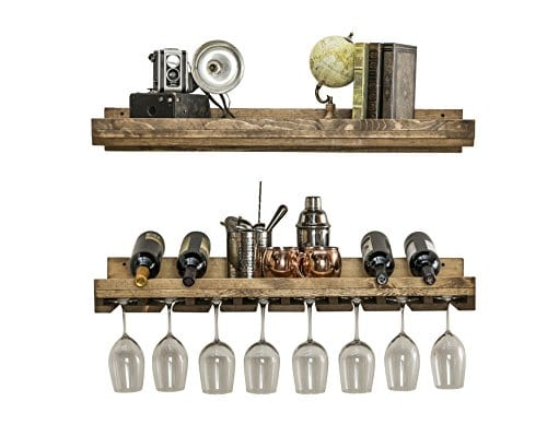 Floating Wine Shelf And Glass Rack Set Wall Mounted Rustic Pine Wood Handmade By Del Hutson Designs 3 Ft 36 Inch 0 1