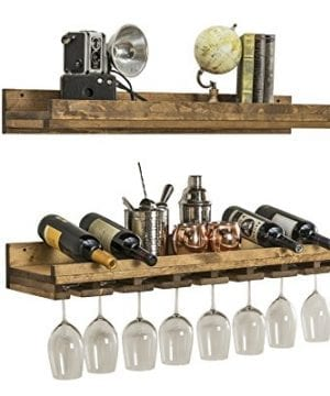 Floating Wine Shelf And Glass Rack Set Wall Mounted Rustic Pine Wood Handmade By Del Hutson Designs 3 Ft 36 Inch 0 300x360