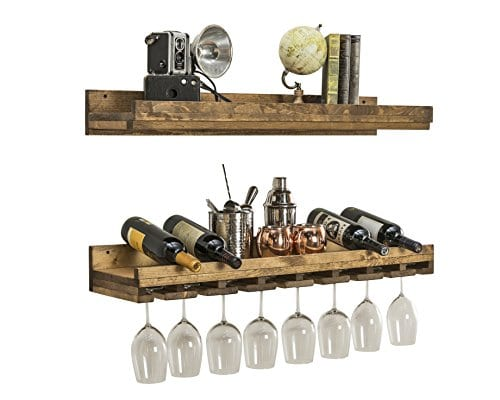 Floating Wine Shelf And Glass Rack Set Wall Mounted Rustic Pine Wood Handmade By Del Hutson Designs 3 Ft 36 Inch 0