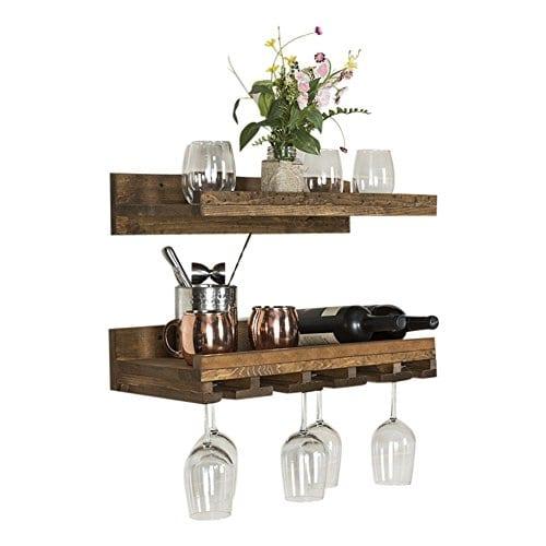 Floating Wine Shelf And Glass Rack Set Wall Mounted Rustic Pine Wood Handmade By Del Hutson Designs 6H X 24W X 10D Dark Walnut 0 0
