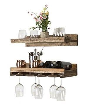 Floating Wine Shelf And Glass Rack Set Wall Mounted Rustic Pine Wood Handmade By Del Hutson Designs 6H X 24W X 10D Dark Walnut 0 1 300x360