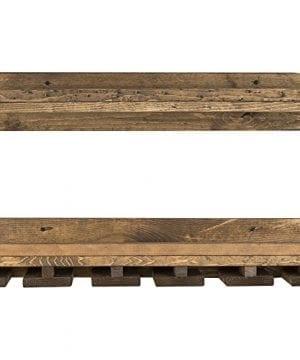Floating Wine Shelf And Glass Rack Set Wall Mounted Rustic Pine Wood Handmade By Del Hutson Designs 6H X 24W X 10D Dark Walnut 0 2 300x360