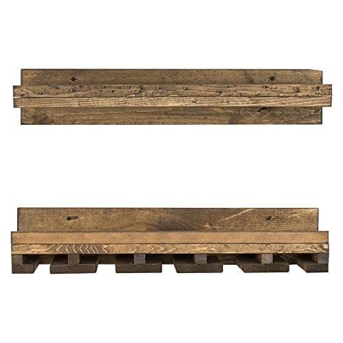 Floating Wine Shelf And Glass Rack Set Wall Mounted Rustic Pine Wood Handmade By Del Hutson Designs 6H X 24W X 10D Dark Walnut 0 2