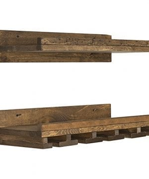 Floating Wine Shelf And Glass Rack Set Wall Mounted Rustic Pine Wood Handmade By Del Hutson Designs 6H X 24W X 10D Dark Walnut 0 3 300x360