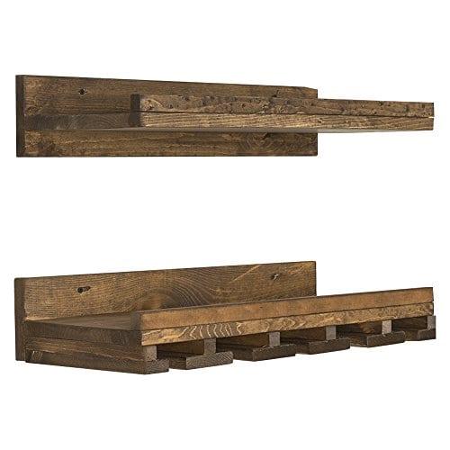 Floating Wine Shelf And Glass Rack Set Wall Mounted Rustic Pine Wood Handmade By Del Hutson Designs 6H X 24W X 10D Dark Walnut 0 3