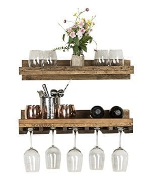 Floating Wine Shelf And Glass Rack Set Wall Mounted Rustic Pine Wood Handmade By Del Hutson Designs 6H X 24W X 10D Dark Walnut 0 300x360