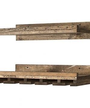 Floating Wine Shelf And Glass Rack Set Wall Mounted Rustic Pine Wood Handmade By Del Hutson Designs 6H X 24W X 10D Dark Walnut 0 4 300x360