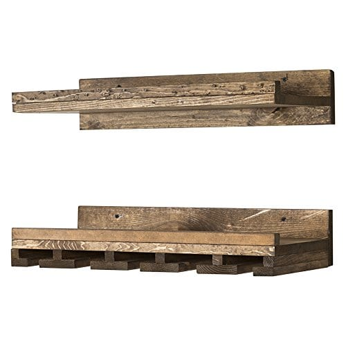 Floating Wine Shelf And Glass Rack Set Wall Mounted Rustic Pine Wood Handmade By Del Hutson Designs 6H X 24W X 10D Dark Walnut 0 4