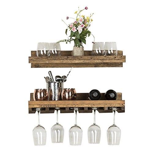Floating Wine Shelf And Glass Rack Set Wall Mounted Rustic Pine Wood Handmade By Del Hutson Designs 6H X 24W X 10D Dark Walnut 0