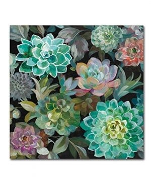 Floral Succulents V2 Crop By Danhui Nai 18x18 Inch Canvas Wall Art 0 300x360